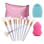 Make Up Brushes Set, Vodisa 10pcs Makeup Brush Tool Kits Blending Powder Foundation Eye Eyebrow Contour Brush+Beauty Cosmetics Blender Sponge+ Egg Cleaner + Storage Bag