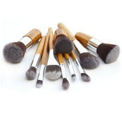 Messon 11pcs Bamboo Handle Professional Makeup Brushes Set Foundation Contour Brush Kits + Portable Pouch