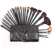 Garrelett 32Pcs Makeup Brush Set Soft Wool Hair Wooden Handle Cosmetic Brushes Tools Powder Foundation Eyeshadow Eyeliner Lip Beauty Brush Kit + PU Pouch