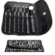 Cosmetic 7 Pc Makeup Brush Sets Brush Kits Zebra Prints Black/Silver