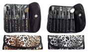 7 Pcs Makeup Brush Set Cosmetic Brush Kits In Animal Prints Pouches (ACosB851)
