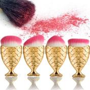 ExGizmo 4ps Fish Scale Mermaid Fishtail Bottom Powder Face & Eye Blush Makeup Cosmetic Mermaid Brush Tool