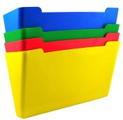 US-Works Wall File Pocket, Assorted Colours (Red, Yellow, Green, Blue), Letter Size, Pack of 4