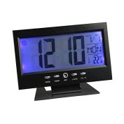 Hevoiok Smart Clock Unique Time Calendar LED Digital Alarm Clock Light Control Backlight Wall Clock Bedroom Waterproof Silent Snooze Wakey Alarm Clock (Silver,Black)