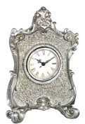 27cm Gold Mosaic and Silver Table/Mantel Clock
