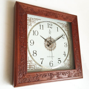 Metal accurate wall clock--- 50cm Square Retro Silence Wood Craft Wall Clock Chinese Antique Mahogany Style Living Room Quartz Wall Clock ---1 x AA battery