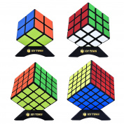 JOYTOWN Bundle Pack Speed Cube Set of 4, 2x2x2 3x3x3 4x4x4 5x5x5 Magic Puzzle Cube, Speedcubing with Bonus Four Stands and Screwdirver Black