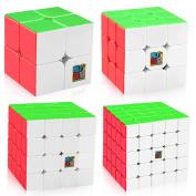 D-FantiX Speed Cube Bundle, Moyu Mofang Jiaoshi MF2S 2x2 MF3S 3x3 MF4S 4x4 MF5S 5x5 Stickerless Maig Cube Set with Gift Box