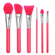 Anself 6pcs Silicone Makeup Brush Set Facial Mask Foundation Brushes Eyeshadow Eyebrow Brush Kit