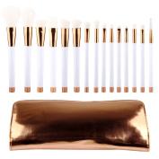 DSCbeauty 15 Pcs Professional Makeup Brushes Set with Case Foundation Contour Blush Concealer Mascara Eyeshadow Blending Eyeliner Lip Bronzer Powder Kabuki Cosmetics Makeup Brushes Set Tool Kit