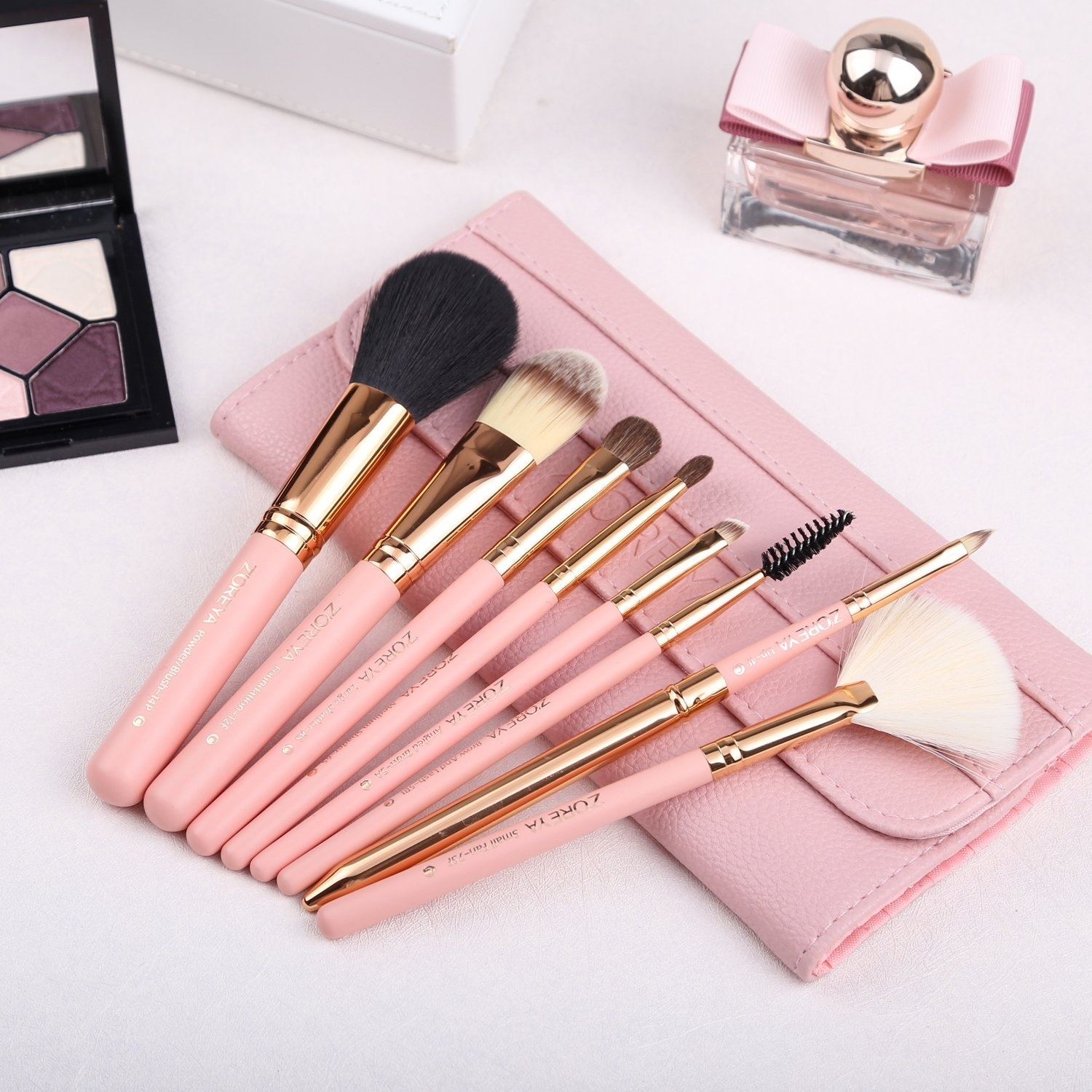 7527ca01495b Makeup Brushes Zoreya 8Pcs Travel Makeup Brushes Set With Case Pink Powder  Foundation Fan Contour Eyes Makeup Brushes For Beginners