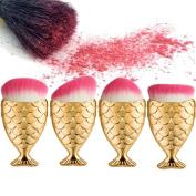 Fullkang 4pcs Fish Scale Makeup Brush Fishtail Bottom Brush Powder Blush Makeup Cosmetic Brush Set