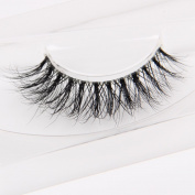 Arimika Handmade 3D Mink Fake Eyelashes-Reusable with Clear Invisible Flexible Band, Lightweight Fluffy Natural Looking,Cruelty Free