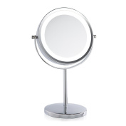 Lighted Makeup Mirror, IREALIST Tabletop Vanity Round Double-Sided Cosmetic Mirror 3 X Magnifying Mirror Lamp with Natural White LED 360-Degree Rotation