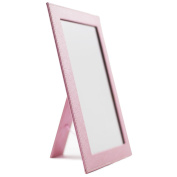 Rnow Foldable Desktop Mirror Home Travel Bright Cosmetic Mirror with Stand Ice Pink
