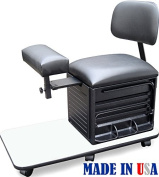 2318-WHT Salon Spa Pedicure Station Stool with Footrest & Back Support by Dina Meri