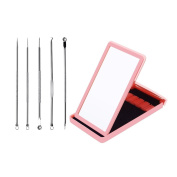 Meetory Acne & Blackhead Remover Kit Professional Pimple Extractor Treatment for Blemish, Whitehead, Zit Removing with Mirror Case
