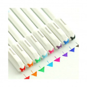 8-Pcs Assorted Colours Inking Pens Fineline Colours Pen Set for Adult Colouring Books Fine Point Pen Set 0.4mm Rollerball for School Office Writing Drawing Scrapbooking Non-bleed Anti Skip