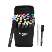 STA 36 Colours Dual Tips Art Graphic Drawing Painting Marker Pen Set Water Based Brush Render for Sketch Design Shade Illustrate Scribbling etc
