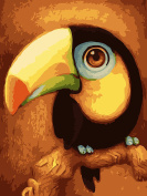 CaptainCrafts New Paint by Numbers 30cm x 41cm for Adults Beginner Kids LINEN Canvas - Cartoon Animals Parrot