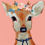 CaptainCrafts New Paint by Number Kits - Flowers Deer Head 25cm x 25cm Frame - Diy Painting by Numbers for Kids, As Children's Day Birthday gift