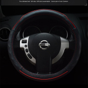 """Empire02 Genuine Leather/Full-grain Cowskin Leather Sport Style Steering Wheel Cover Universal Black with Red Line Fit for Outer Diameter 37-38cm(14.5""""-14.9"""")"""