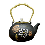 Japan Cast Iron Pot Handicraft Oxide Film Inner Wall Non-Coated Gold Lotus Goldfish Pattern Boiled Water Brewing