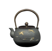Japan Cast Iron Pot Handicraft Oxide Film Inner Wall Non-Coated Gold God Crane Group Pattern Boiled Water Brewing