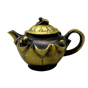 Copper Teapot Handicraft Antique Bronze Home Decoration Ornaments Retro Carved Lotus Leaf Small Frog Small Copper Kettles