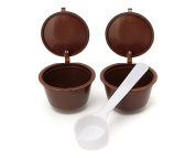Yeah67886 2pcs Reusable Coffee Capsules Refill Cup With 1Pc Plastic Spoon