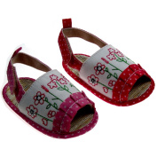 Soft Touch Baby Girl Cute Polka Dot and Flower Embroidery Sandal. Available to fit ages 0-12 months in Pink or Fuchsia.