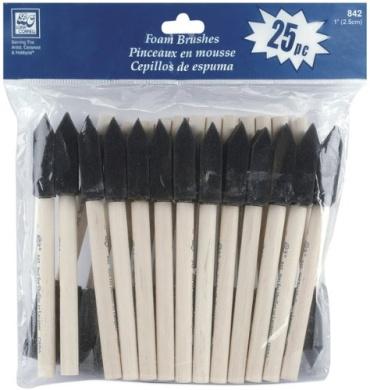 """Foam Brushes 2.5cm """" - 25 Ct"""