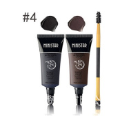 Indexu Waterproof Tint Eyebrow Mascara Set With Double-ended Brush Long Lasting Eyebrow Cream Black Brown 4#