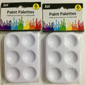 12 Small Paint Palettes Trays with 6 1cm deep wells each