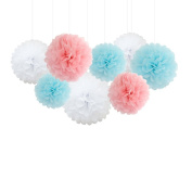 Crazy Night 8 Tissue Pom Poms Kit ,Tissue Paper Pom Poms,Tissue Paper Flowers Kit,Pom Poms Craft