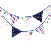 Nautical Happy Birthday Party Pennant Double Sided Anchor Pattern Hanging Bunting Banner Wedding Baby Shower Party Garland Decoration