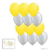 Andaz Press 28cm Balloon Duo Party Kit with Gold Cards & Gifts Sign, Yellow and Silver Grey, 12-pk