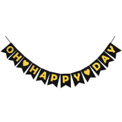 "INNORU ™ "" Oh Happy Day "" Party Banner - Wedding ,Anniversary ,Retirement ,Announcement ,Gender Reveal ,Birthday ,Baby Shower Congratulations Party Supplies"