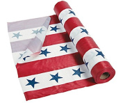 Durable Patriotic Stars & Stripes Plastic Tablecloth Roll 4th of July Party Table Decoration 30m Long