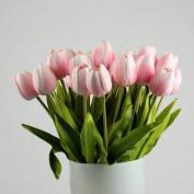 Vibola® Tulip Artificial Flower Latex Real Touch Bridal Wedding Bouquet Home Decor,10pcs (without bottle) Party Decor