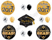 GOLD & BLACK CLASS OF 2017 GRADUATION Balloons Decorations Supplies Party