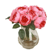 Vibola® 1 Bouquet /6 Heads Artificial Peony Silk Flower Leaf Home Wedding (without bottle) Party Decor