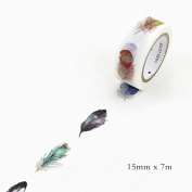 Lavenz DIY Decorative Washi Tape Lovely Feather Masking Adhesive Tape For Scrapbooking