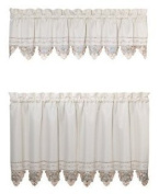 Today's Curtain Regal Reverse Embroidery 80cm Tier Pair, Ecru / Peach