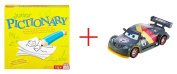 Junior Pictionary Game AND Disney-Pixar Cars Max Schnell Carbon Racers Vehicle - Bundle