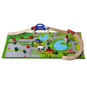 Frealm Wooden Train Track Toys Rail Overpass Set with Buildings, Cars, Figures, Trees, Bridge, and Puzzle Scenery Base - 40pcs