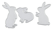 Taloyer Set of 3pcs Rabbits Metal Cutting Dies Creative Stencil Template Moulds for DIY Scrapbooking Album Paper Craft Card Making