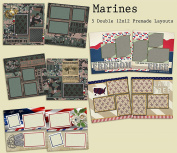 Marines Scrapbook Kit - 5 Double Page Layouts