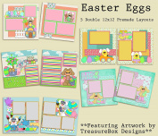 Easter Eggs Scrapbook Kit - 5 Double Page Layouts