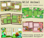 Wild Animals Scrapbook Kit - 5 Double Page Layouts